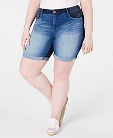 Trendy Plus Size Weekend Colorblocked Denim Bermuda Shorts