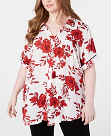 Seven7 Jeans Trendy Plus Size Printed Button-Up Shirt