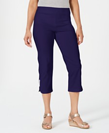 JM Collection Petite Embellished-Hem Capris, Created for Macy's