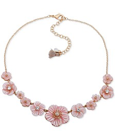 """Gold-Tone Crystal Flower Collar Necklace, 16"""" + 3"""" extender"""