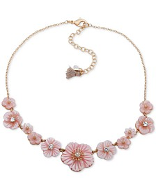 "lonna & lilly Gold-Tone Crystal Flower Collar Necklace, 16"" + 3"" extender"