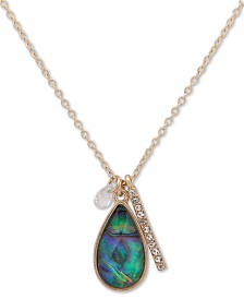 """lonna & lilly Gold-Tone Abalone-Look Pendant Necklace, 16"""" + 3"""" extender"""