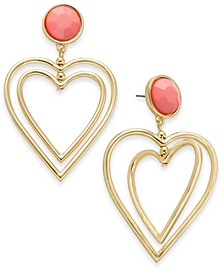 Gold-Tone & Stone Double Heart Drop Earrings, Created for Macy's