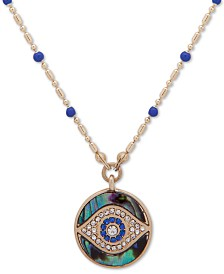 "lonna & lilly Gold-Tone Evil Eye Pendant Necklace, 16"" + 3"" extender"
