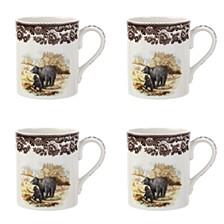 Woodland Black Bear Mug Set/4
