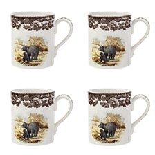 Spode Woodland Black Bear Mug Set/4