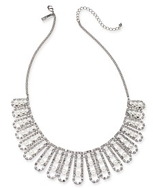 "I.N.C. Silver-Tone Crystal and Imitation Pearl Statement Necklace, 18"" + 3"" extender, Created for Macy's"