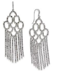 I.N.C. Silver-Tone Pavé Chain Fringe Chandelier Earrings, Created for Macy's