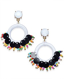 INC Gold-Tone Stone, Bead & Thread-Wrapped Circle Drop Earrings, Created for Macy's