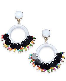 I.N.C. Gold-Tone Stone, Bead & Thread-Wrapped Circle Drop Earrings, Created for Macy's