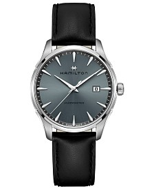 Hamilton Men's Swiss Jazzmaster Black Leather Strap Watch 40mm