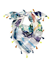 Laundry by Shelli Segal Watercolor Leaves and Stripe Double-Sided Triangle Scarf