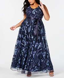 R & M Richards Plus Size Embroidered Gown