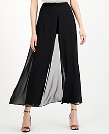Chiffon-Overlay Wide-Leg Pants, Created for Macy's