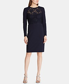 Lace-Yoke Crepe Dress