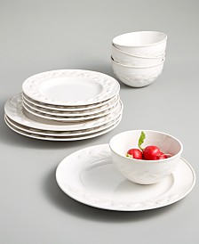 Martha Stewart Collection La Dolce Vita Olive Whiteware 12-Pc. Dinnerware Set, Service for 4, Created for Macy's