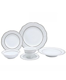 24 Piece Wavy Fine China Lattice Dinnerware