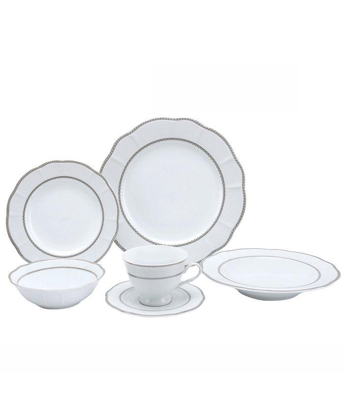 Lorren Home Trends - 24 Piece Wavy Fine China Lattice/Silver Dinnerware  (Service for 4)