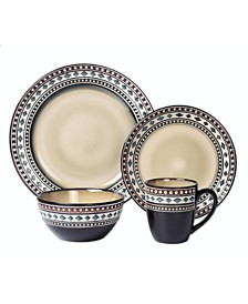 Lorren Home Trends 16 Piece Glazed Dinnerware