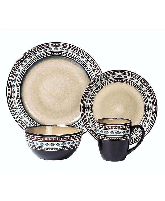 Lorren Home Trends - 16 Piece Glazed Dinnerware Neutral (Service for 4)