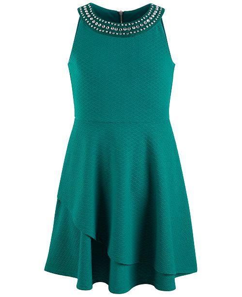 Us Angels Big Girls Embellished-Neck Fit & Flare Dress