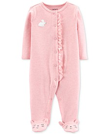 Baby Girls Ruffle-Trim Bunny Footed Cotton Coverall