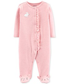 Carter's Baby Girls Ruffle-Trim Bunny Footed Cotton Coverall