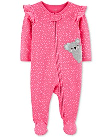 Baby Girls Heart-Print Koala Footed Cotton Coveralls