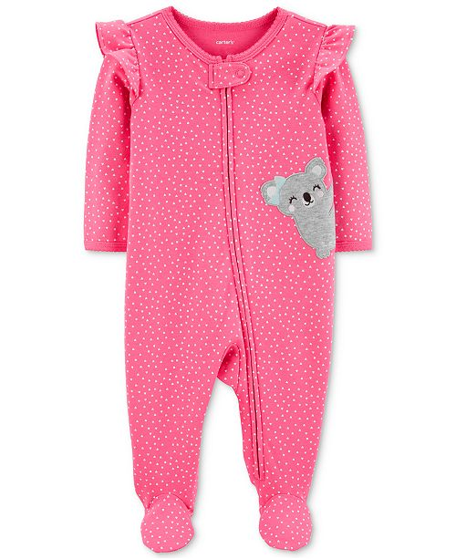 Carter's Baby Girls Heart-Print Koala Footed Cotton Coveralls