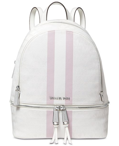Michael Kors Signature Stripe Rhea Backpack