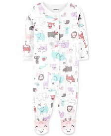 Carter's Baby Girls Animal-Print Footed Cotton Coveralls