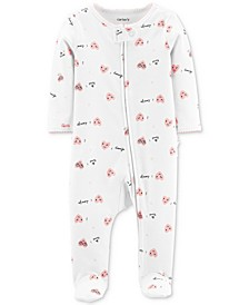 Baby Girls 1-Pc. Footed Heart-Print Cotton Pajamas