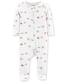 Carter's Baby Girls 1-Pc. Footed Heart-Print Cotton Pajamas