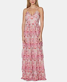 Floral-Print Lace Tiered Gown