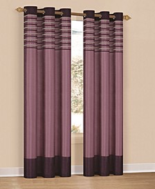 "Cityscape 38"" x 84"" Faux Silk Stripe Curtain Set"