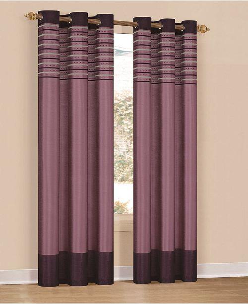 """Duck River Textile Cityscape 38"""" x 84"""" Faux Silk Stripe Curtain Set"""