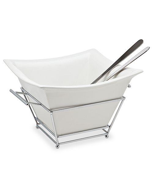 Godinger Serveware, Piazza Salad Bowl with Servers