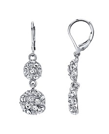 2028 Silver-Tone Pave Crystal Double Drop Earrings