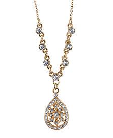 "2028 Gold-Tone Crystal Filigree Teardrop Necklace 16"" Adjustable"