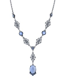 "Pewter Tone Lt. Blue Moonstone and Crystal Accent Filigree Y-Necklace 16"" Adjustable"
