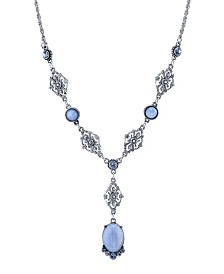 "2028 Pewter Tone Lt. Blue Moonstone and Crystal Accent Filigree Y-Necklace 16"" Adjustable"