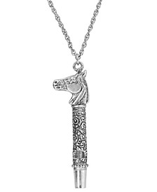 Pewter Horse Head Whistle Necklace 30""