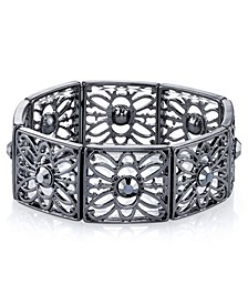Black-Tone Hematite Color Filigree Stretch Bracelet