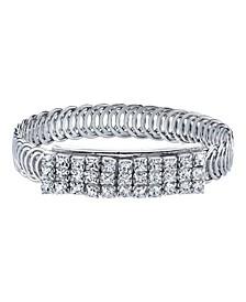 Silver-Tone Clear Crystal Rhinestone Slim Belt Bracelet