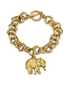 2028 14K Gold Dipped Elephant Charm Toggle Bracelet