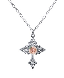Symbols Of Faith Silver-Tone Crystal Porcelain Rose Cross Pendant Necklace 18