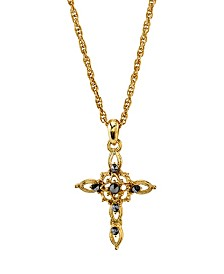 Symbols of Faith 14K Gold-Dipped Imitation Marcasite Cross Pendant Necklace 18""