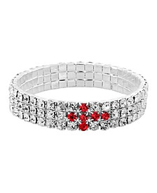 Silver-Tone Red Rhinestone Cross Stretch Bracelet