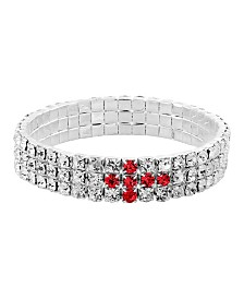 Symbols of Faith Silver-Tone Red Rhinestone Cross Stretch Bracelet