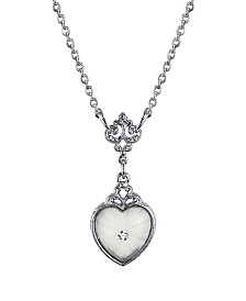 "Downton Abbey Silver-Tone Frosted Lalique-Inspired Heart-Shaped Necklace 16"" Adjustable"